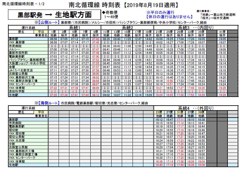 20190819改正_黒部駅発⇒生地駅方面